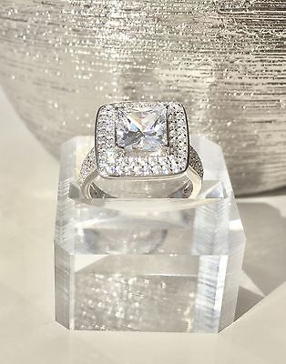 4 Carat Square Princess Engagement 2 Ring Set Sterling Silver 925 AUSTRALIAN