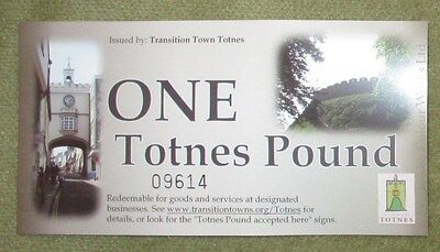 Brand New Totnes Transition Town Second Series One Pound Note - Uncirculated