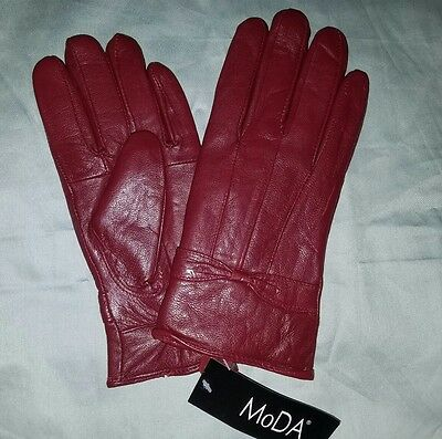 NWT MoDA NY Genuine LEATHER Women's RED Gloves LARGE 8 Wrist Winter Fashion L
