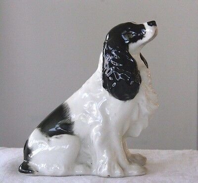 Vintage Lomonosov USSR black and white spaniel figurine