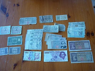 collection of 27 italian notes - 50 000,1000, 500, 50 1,2 lira notes