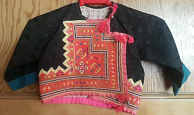 Vintage Thai Child's Embroidered Jacket Hill Tribe Meo Baby Tribal 1 to 2 years