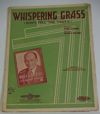 Sheet Music Whispering Grass Monte Richardson Vintage Australian 1940