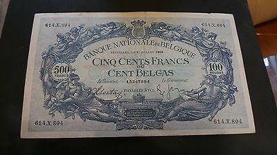 Belgium, 500 Francs/100 Belgas, Banknote. Serial # 614.X.804. Dated 27.7.1938.