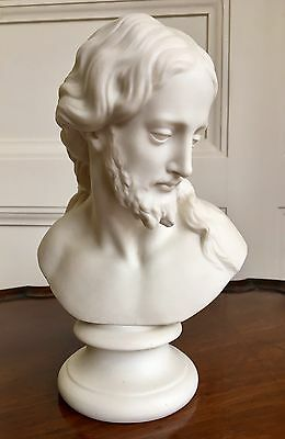 A Fine Quality Victorian Parian Ware Bust Of Jesus Christ, c.1880. 21cm High.