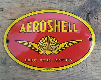 Plaque emaillee bombee publicitaire AEROSHELL enamel sign