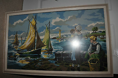 "Large Handmade Half Cross Stitch Tapestry 30.5"" X 19""(New)"