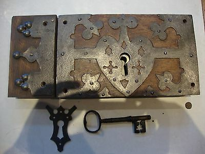 Massive stunning antique ecclesiastical door lock with key and keep