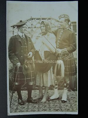 Portrait of 2 Gents in Traditional Scottish Kilt Sporran - Old RP Postcard