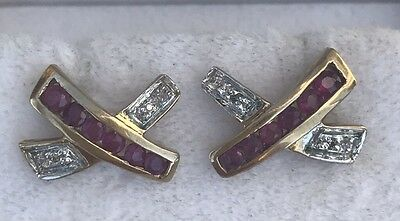 Pair Of Diamond And Ruby 9Ct Yellow Gold, Hallmarked, Earrings. Pierced Ears.