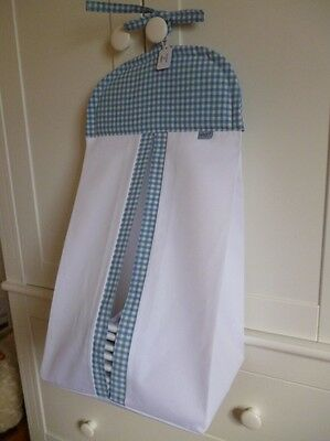 Bespoke Baby Nappy Stacker  - Blue/ White Gingham - 100% Cotton Fabric - BNWT