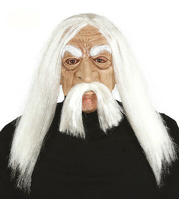 Mens Old Man Mask with Long White Wig and Moustache Fancy Dress Costume NEW