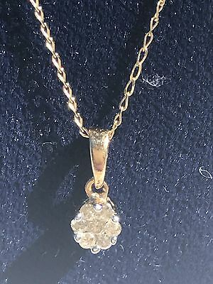 7 Stoned Diamond Pendant, 9Ct Yellow Gold And 9Ct Yellow Gold Chain, 23 Cms/18""