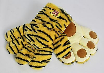 2 Tickle Paws Animal Print Cat Tiger Large Mitten Glove Giggle Laughing Sounds
