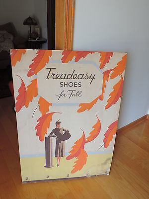 Store Display Stand-Up Advertising Sign Rare Vintage 1940's Treadeasy Shoes