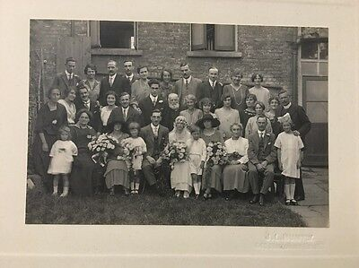 Antique Black & White Photo Of A Wedding Party Family Group Photograph JL Huntly