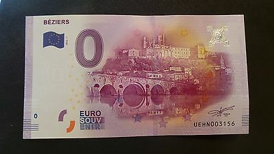 """France, Mint, 0 Euro, Novelty Note. Banknote Quality. """"Beziers""""."""