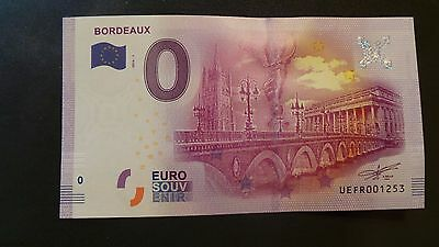"""France, Mint, 0 Euro, Novelty Note. Banknote Quality. """"Bordeaux""""."""