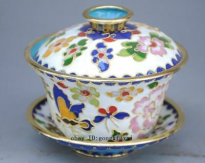 Exquisite Chinese Cloisonne Handwork Flower Teacup & Lid