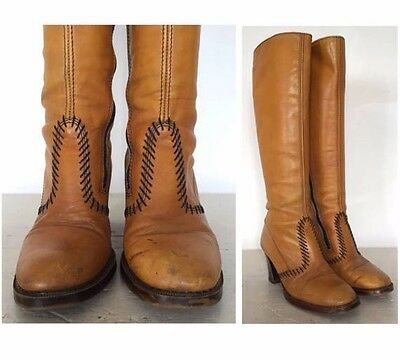 Vintage 60s 70s Tan Leather Knee High GoGo Boots Block Heel Shoes Hippie Mod