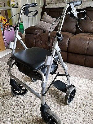 Rollator with Seat and Transit Chair Mobility Stroller Walking Aid Walker 4 Whee