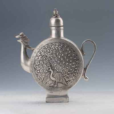 Chinese Tibetan Silver Hand-Carved Peacock & Birds Flagon W Qianlong Mark
