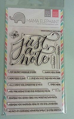 Mama Elephant Just a Note clear rubber Stamp Set NEW