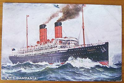RMS CAMPANIA STEAM SHIP 1909 POSTCARD PAQUEBOT STATE PUBLISHING LIVERPOOL No 3
