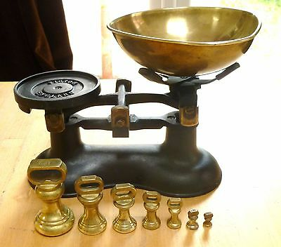 vintage victor balance scales + 7 brass bell weights