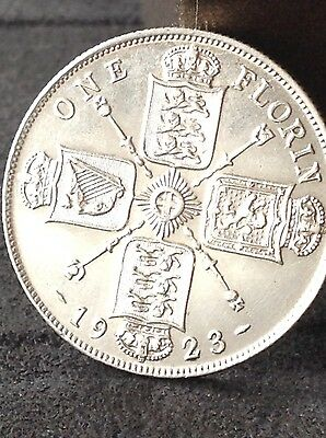 1923, High grade, George 5th silver Florin, 2/-, two shilling coin, Free uk P&P