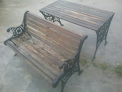 vintage cast iron garden seat bench and table