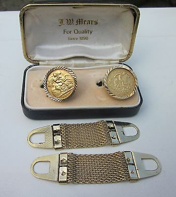 Half Sovereign Gold Cufflinks, 1907 & 1904.