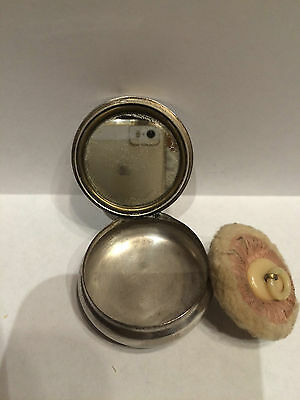 Vtg 1919 Silver Plated Compact Advertising Signed Williams Talc Powder W / Puff