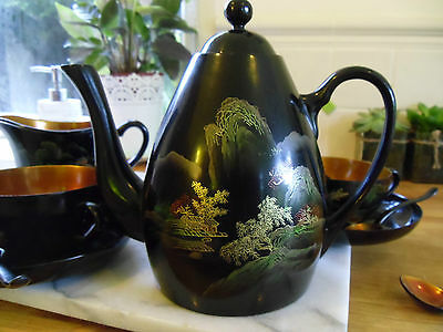 Chinese Hand Painted Lacquer Tea Set 1956 Black Gorgeous Pristine Condition