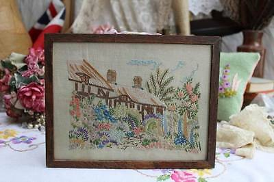 Gorgeous Vintage Embroidered Cottage Garden & Thatched Cottage Framed Picture