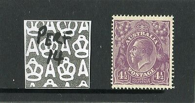 1927 KGV Head 4 1/2d Violet Small Multi W/M Perf 14 Mint Never Hinged, Clean