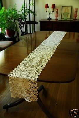 "Antique Point de Venise Figural Table Runner 107"" Long!~Exquisite!"
