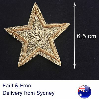 Gold Star Iron on patch - Glitter sparkling glamorous Hollywood star embroidery