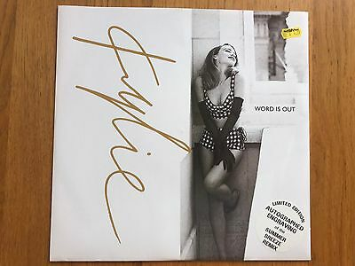 """Kylie Minogue - Word Is Out 12"""" Limited Autograph Engraving PWL"""