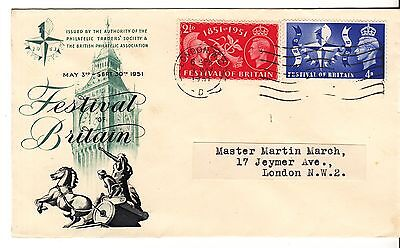 GB 1951 Festival of Britain set on illustrated FDC