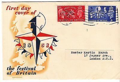 GB 1951 Festival of Britain set on illustrated FDC with insert