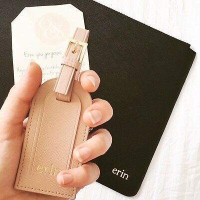 PERSONALISED MONOGRAMMED Genuine Leather Luggage Bag Tag Travel Accessory Taupe