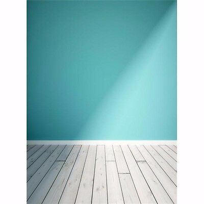 5x7FT Blue Wall Wood Floor Vinyl Photography Backdrop Photo Background Props