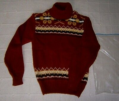 """Vintage Polo-Neck Jumper - Age 10 -28"""" Chest Approx - Rust Chunky Fairisle -New"""