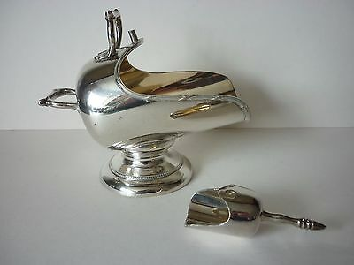 Vintage Silver Plated Sugar Scuttle Bowl & Scoop
