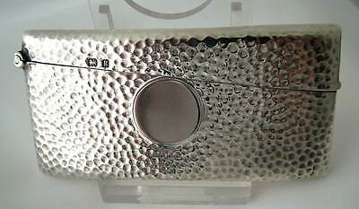 SUPERB ARTS & CRAFTS HAMMERED STERLING SILVER CARD CASE ~Hallmarked 1906