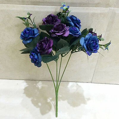 Home Party Wedding Design Flowers 10 Head Decor Rose Artificial Silk Flowers