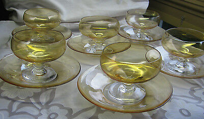 Gold Luster Flash Footed Sherbet Glass LOT 6 Elegant Fine Vintage Wedding Set