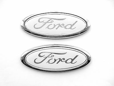 White Ford Oval Badge Fiesta / Focus ETC. 115mm x 45mm Brand New X2