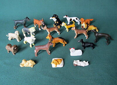 Lot of 21 Miniature Plastic Dogs Puppies